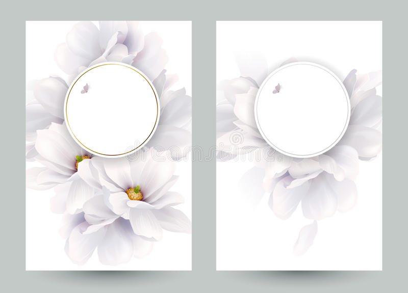 Set of two invitation or congratulation cards with elegant flower composition. Blooming white magnolias formed royalty free illustration