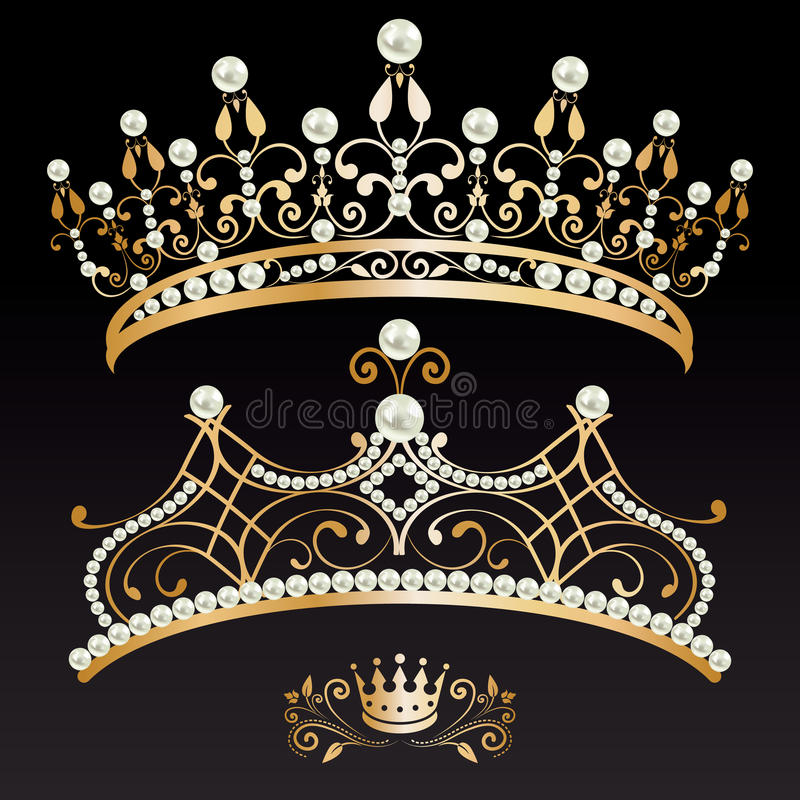 Set of two luxury golden tiaras and crown with pearls royalty free illustration