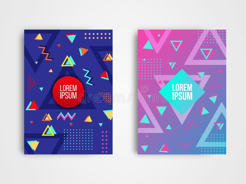 Set of two modern abstract geometric background design template stock illustration