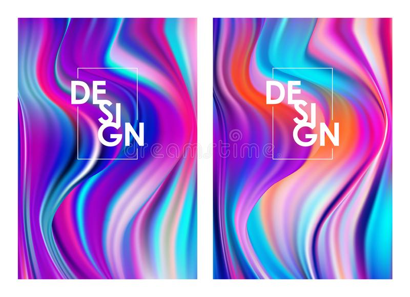 Vector illustration: Set of two modern color flow posters. Abstract twisted wave liquid background. Trendy art design. Set of two modern color flow posters royalty free illustration