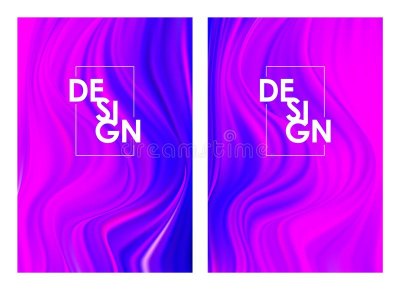 Vector illustration: Set of two modern color flow posters. Abstract twisted wavy liquid background. Trendy art design. Set of two modern color flow posters royalty free illustration