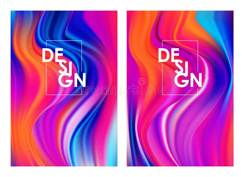 Vector illustration: Set of two modern color flow posters. Abstract twisted wavy liquid background. Trendy art design. Set of two modern color flow posters vector illustration