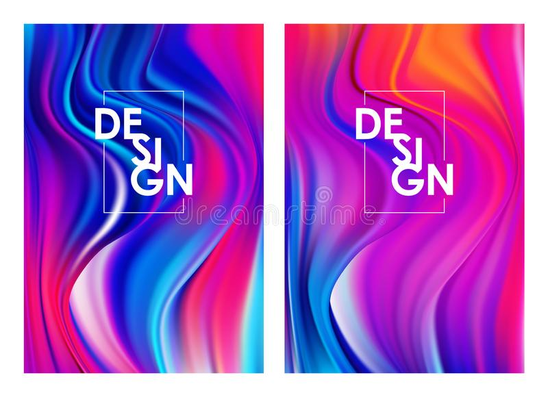 Vector illustration: Set of two modern colorful flow posters. Abstract twisted wavy liquid background. Art design. Set of two modern colorful flow posters royalty free illustration