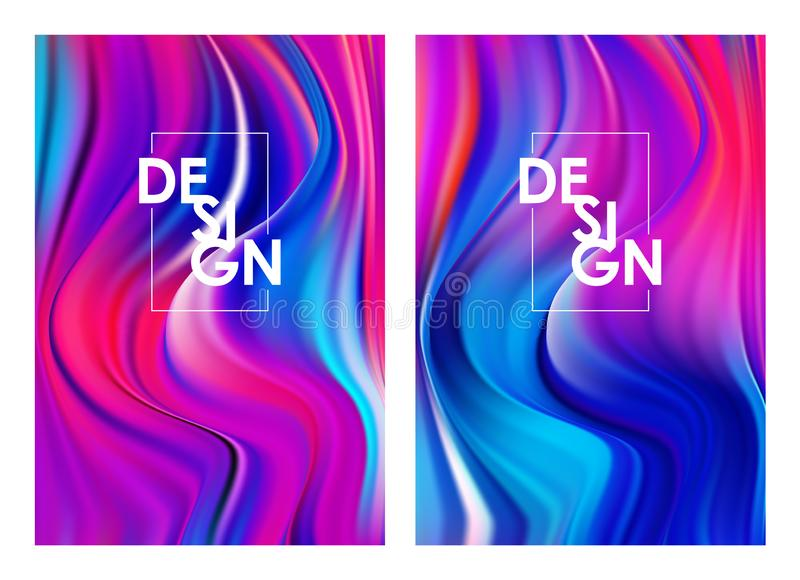Vector illustration: Set of two modern colorful flow posters. Abstract twisted wavy liquid background. Trendy art design. Set of two modern colorful flow posters stock illustration
