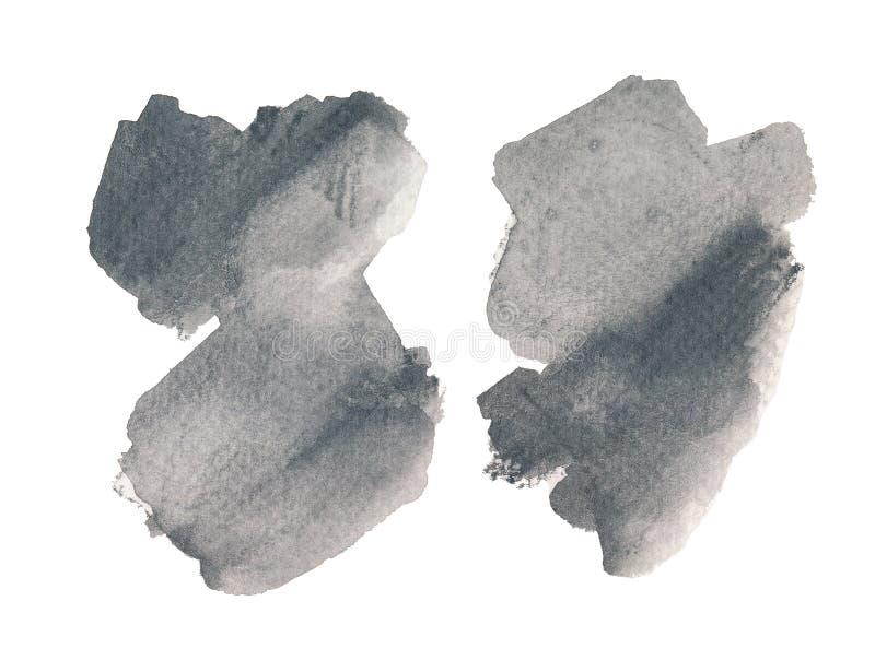 Set of two monochrome hand drawn watercolor shape. Modern gray blending raster illustration. stock illustration