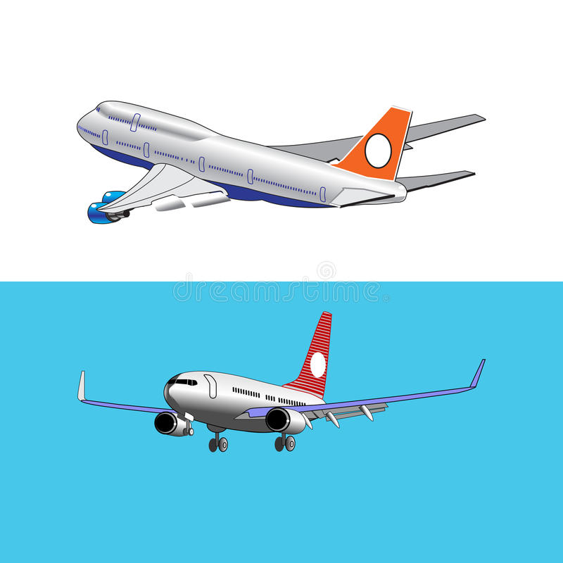 Set of two the plane is landing and takeoff gear royalty free stock photo