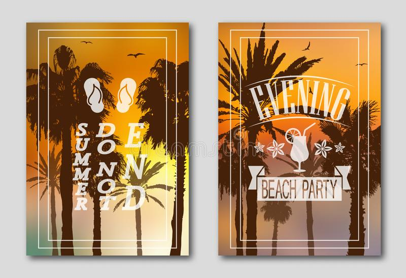 Set of two posters, silhouettes of palm trees against the sky. Logo made of beach slippers, birds stock illustration