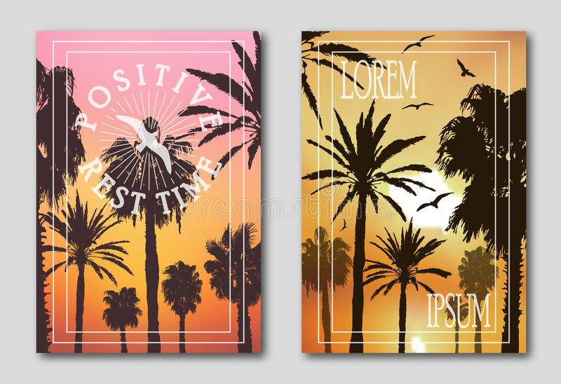 Set of two posters, silhouettes of palm trees against the sky. Logo from seagulls, birds, positive mood. Set of two posters, silhouettes of palm trees against royalty free illustration