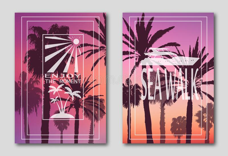 Set of two posters, silhouettes of palm trees against the sky. Logo, yacht, sun, island. Sea walk. . vector illustration