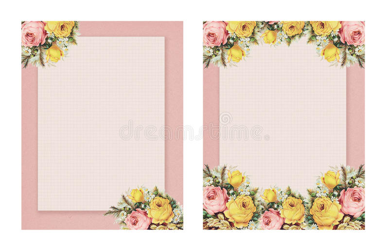 Set of two Printable vintage shabby chic style floral rose stationary on green paper background. Set of two matching Printable vintage shabby chic style floral royalty free illustration
