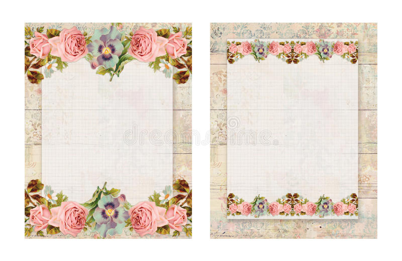 Set of two Printable vintage shabby chic style floral rose stationary on wood background. Printable vintage shabby chic style floral rose stationary on textured vector illustration