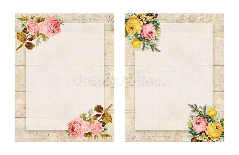 Set of two Printable vintage shabby chic style floral rose stationary on wood background. Printable vintage shabby chic style floral rose stationary on textured royalty free illustration
