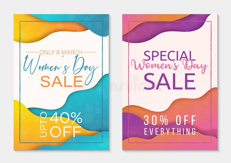 Set of two sale banner templates to International Womens Day. Paper cut style backgrounds. Colorful templates for business stock illustration