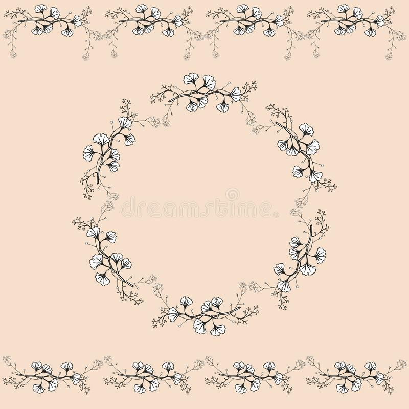 Set of two seamless horizontal ornaments and vintage openwork wreath. Openwork black and white handmade vector isolated drawing. royalty free illustration