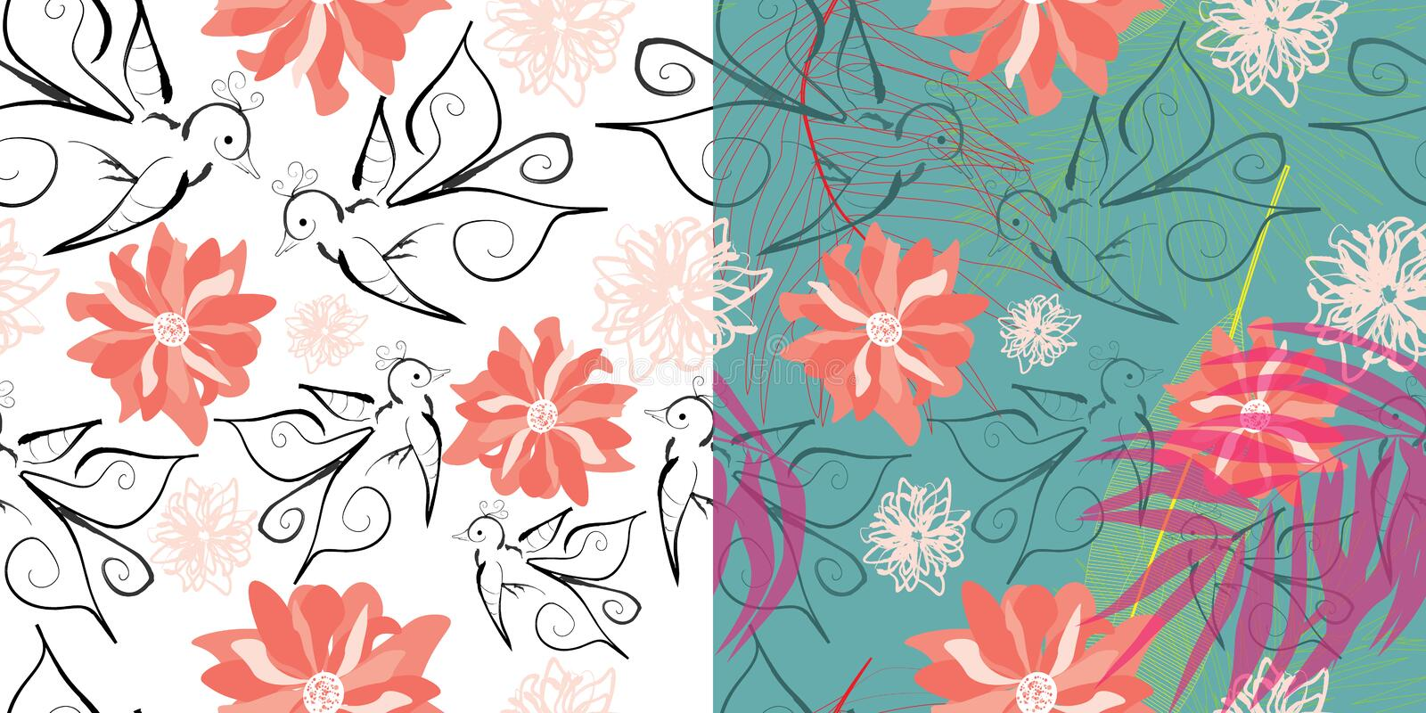 Set of two seamless pattern with birds and flowers vector illustration