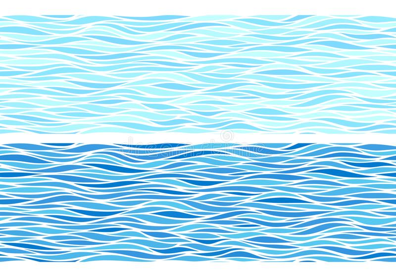 Set of two seamless patterns with blue waves stock illustration