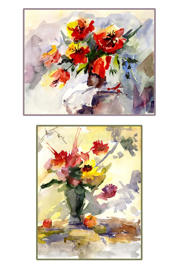 Set Of Two Still Lives Colorful Flowers In Vase Watercolor Pa Stock