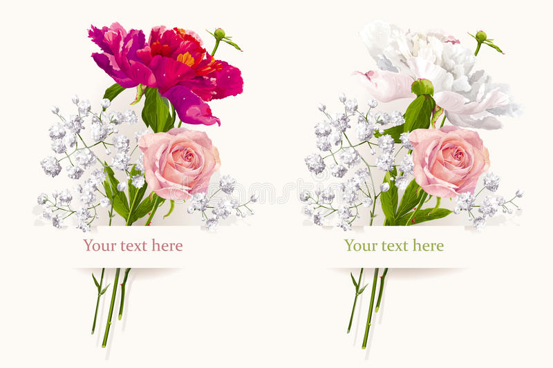 Set of two summer bouquets vector illustration