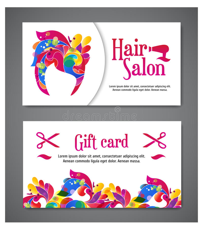 Set of two templates of gift cards with color ornament for print or website. vector illustration. Gift card design royalty free illustration