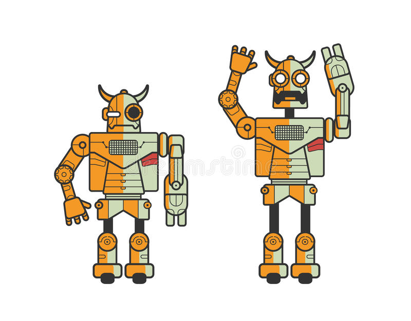 Set of two toy electronic robots expressing different emotions isolated on white background. Android standing in calm. Position and with raised hands and opened stock illustration