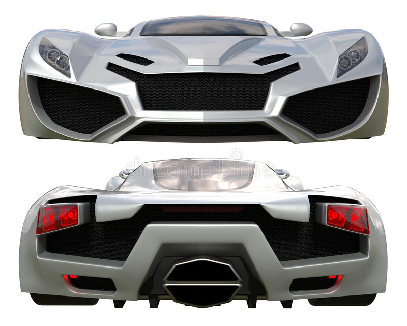 A set of two types of racing concept car in gray. Front and rear view. 3d illustration. vector illustration