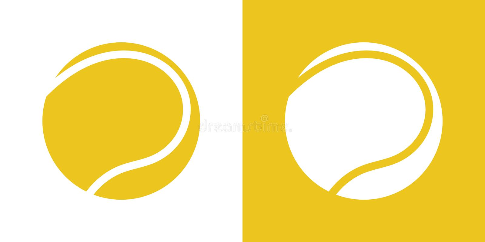 A set of two variations of simple tennis ball icons. On white and on a yellow background. 10 eps stock illustration