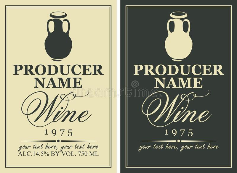 Set of two vector wine labels with clay jugs stock illustration