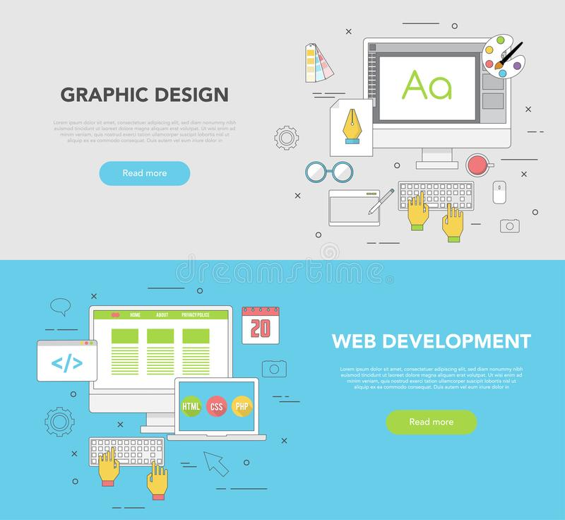 Set of two web Banners for Graphic design and Web Development vector illustration