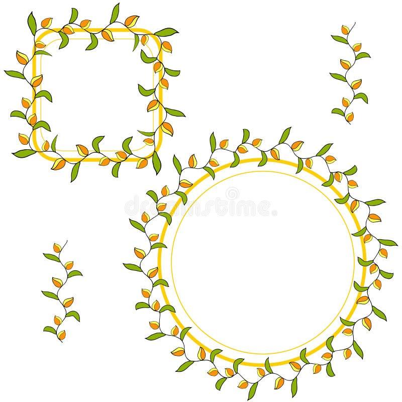 Set two wreaths autumn mood vector illustration