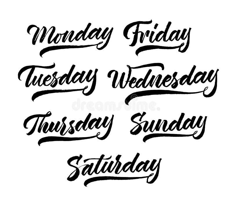 Set tygodni dni pisać list Ręka rysujący nowożytny kaligrafii muśnięcia pióra styl Czerń na białym tle Wektorowy atrament Kolekcj ilustracja wektor