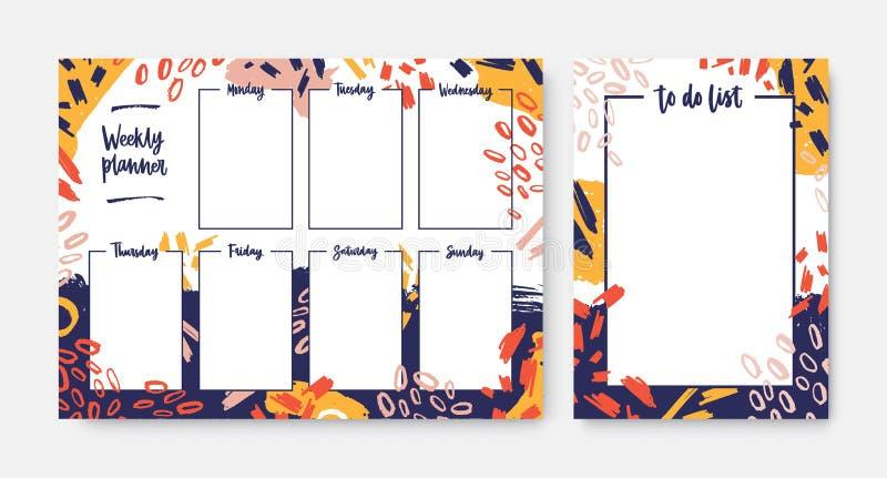Set tygodniowi planisty i listy szablony z ramą dekorującą kolorowym bohomazem, muśnięcie muska, rozmazy, skrobanina ilustracji