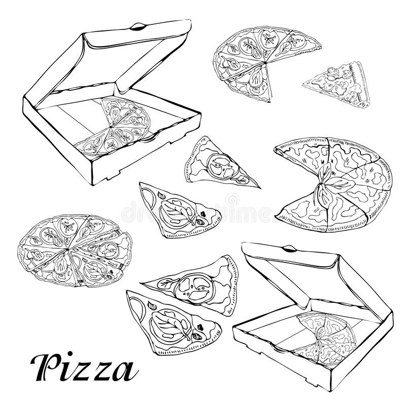 Set of type of pizza. Hand drawn ink sketch. Pepperoni, Margarita,  Mushroom.  Perfect for leaflets, cards, posters, prints, menu vector illustration