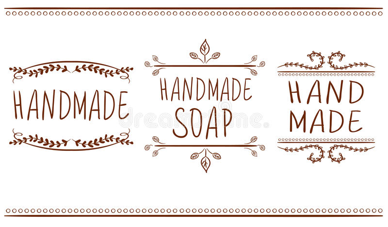 Set of typographic elements. Hand made, hand made soup. VECTOR handwritten letters. Brown lines. Set of typographic elements. Hand made, hand made soup. VECTOR vector illustration