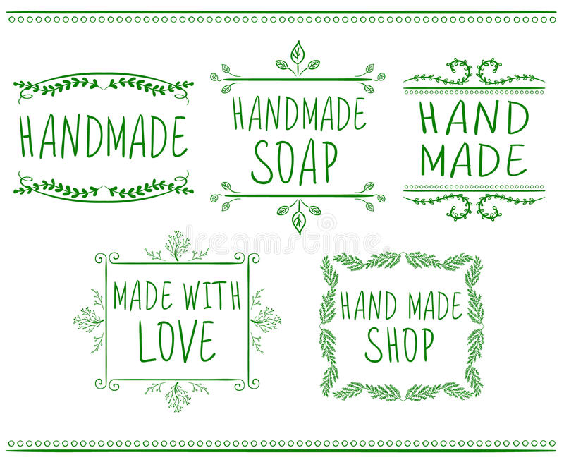 Set of typographic elements. Hand made. VECTOR handwritten letters. Green drawings. Set of typographic elements. Hand made. VECTOR handwritten letters. Green stock illustration