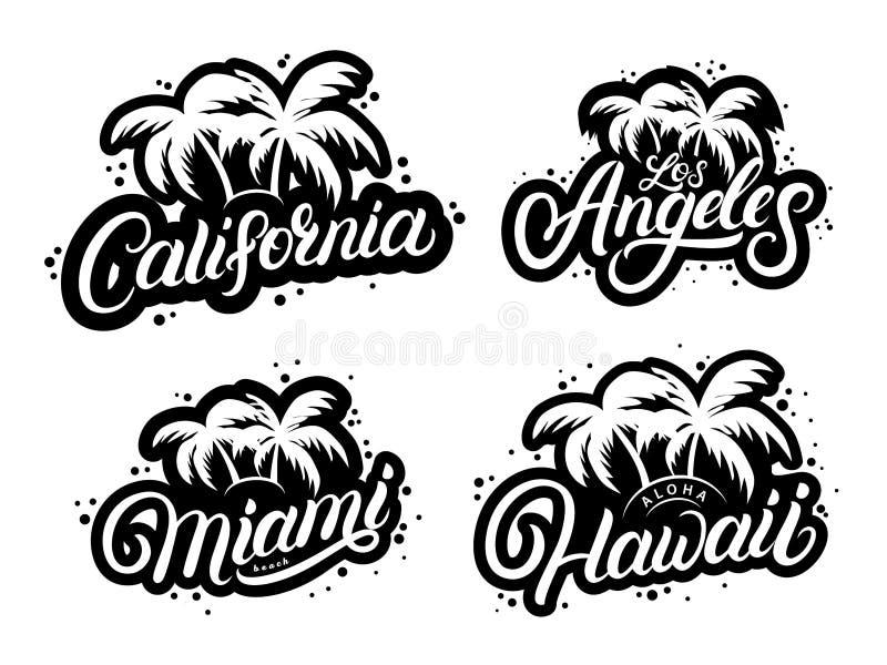 Set of typography graphic prints stock illustration