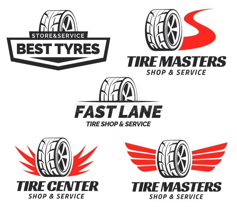 Set of Tyre Shop Logo Design. Wheel repair service. Tire storage company logo vector illustration