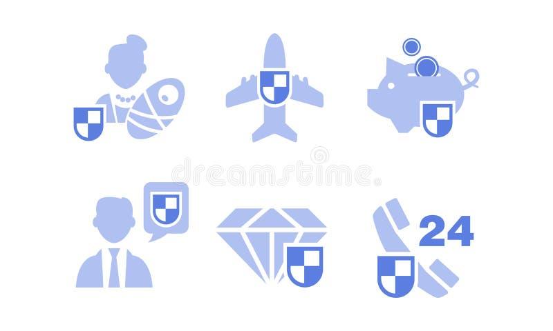 Set ubezpieczenie ikony Depozyt, rodzina, życie, towary, podróż i biznesowy ryzyko, Wektor dla mobilnego app interfejsu royalty ilustracja