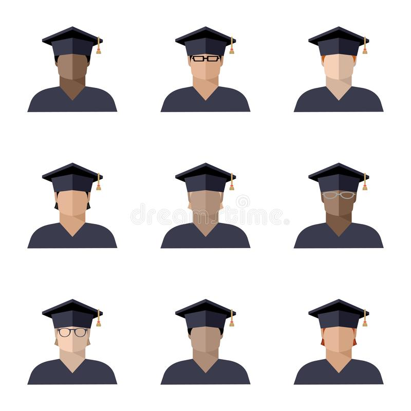 Set uczeń chłopiec ustawiać w magisterskiej nakrętce różne rasy, narodowości i kolory skórzy, koloru wizerunek, ikona royalty ilustracja