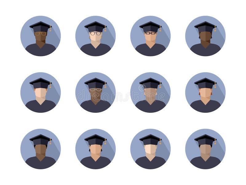 Set uczeń chłopiec w magisterskiej nakrętce różne rasy, narodowości i kolory skórzy, koloru wizerunek w okręgu, ikona ilustracji