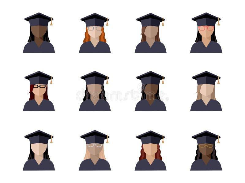 set uczeń dziewczyna w magisterskiej nakrętce różne rasy, narodowości i kolory skórzy, ilustracji