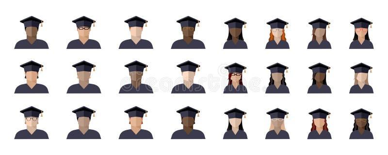 set uczeń dziewczyny w magisterskiej nakrętce i chłopiec różne rasy, narodowości i kolory skórzy, koloru wizerunek, ikona ilustracji