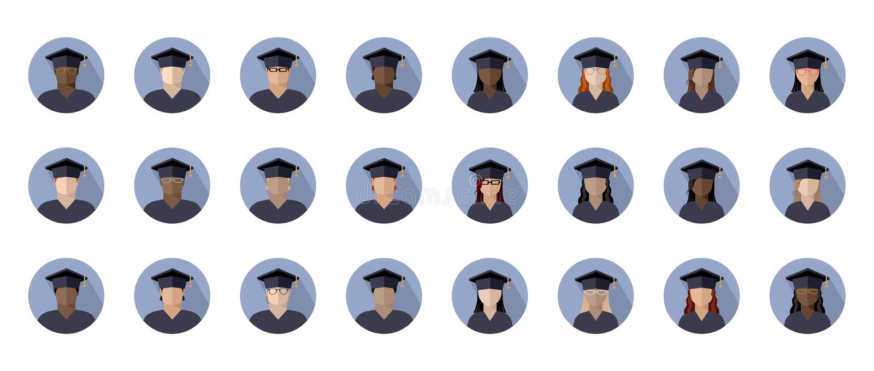 Set uczeń dziewczyny w magisterskiej nakrętce i chłopiec różne rasy, narodowości i kolory skórzy, koloru wizerunek w okręgu, ikon ilustracja wektor