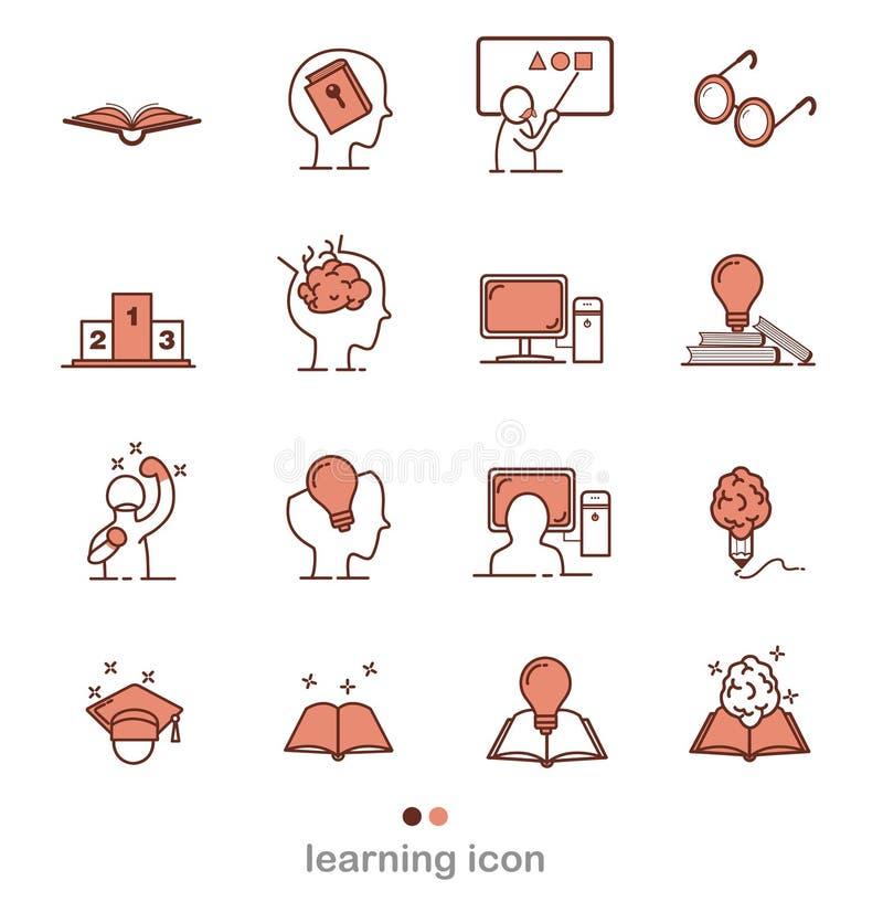 Set uczenie wektoru linii inteligencje Odnosić sie ikony Cienieje kreskowe ikony, płaską wektorową ilustrację dla strony internet royalty ilustracja