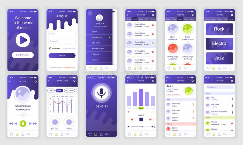 Set Of Ui Ux Gui Screens Music App Flat Design Template For Mobile Apps Responsive Website Wireframes Stock Vector Illustration Of Mobile Homepage 167589945