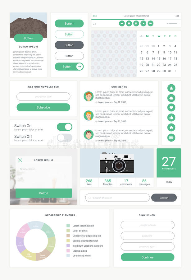 Set of UI and UX kit elements. User interface for website development, mobile application, app design. royalty free illustration