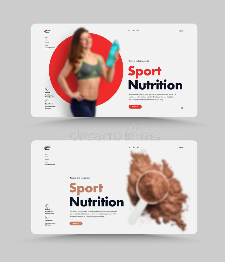 Set of UI/UX website design homepage for sports nutrition or supplements. Web page template with place for photo and red circle on the background. Minimalistic royalty free illustration