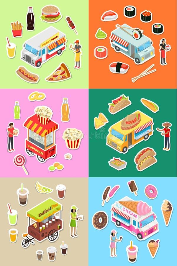 Set Uliczna fast food knajpa na koło wektorach royalty ilustracja