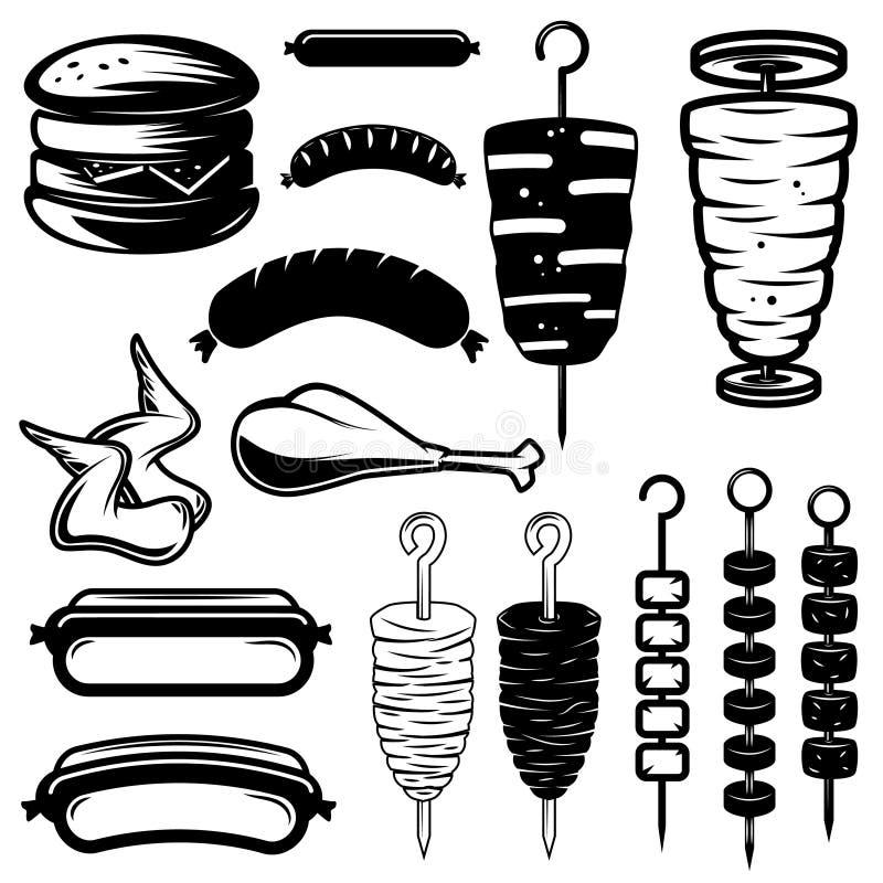 Set uliczni karmowi projektów elementy Hamburger, hot dog, kebab, kurczaków skrzydła, grill ilustracja wektor