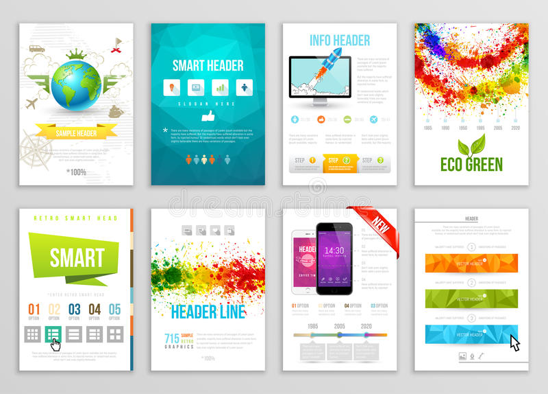 Set ulotka, broszurka, tło, sztandarów projekty Wektorowi Plakatowi szablony Farba Bryzga Abstrakcjonistycznego tło dla wizytówki royalty ilustracja
