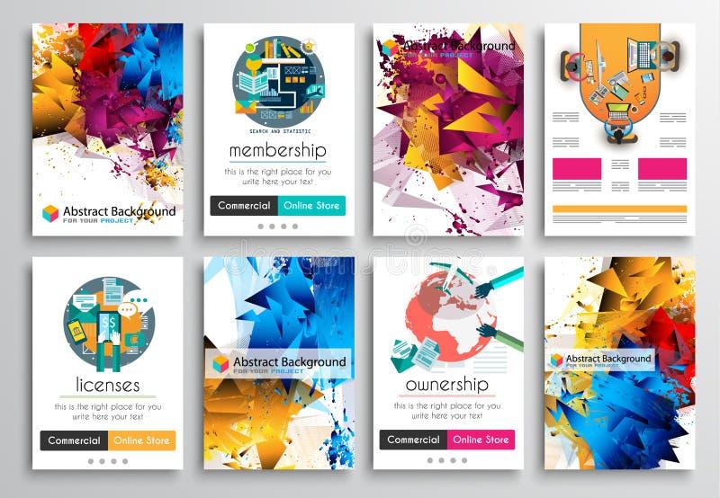 Set ulotka projekt, Infographics Broszurka projekty, technologii tła royalty ilustracja